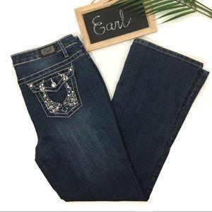 "Earl Jeans Bling Pockets Boot Cut Jeans 30"" Inseam"